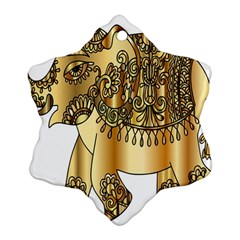 Gold Elephant Pachyderm Snowflake Ornament (two Sides)