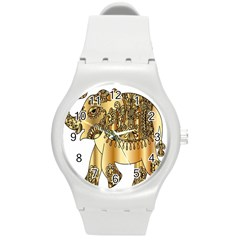 Gold Elephant Pachyderm Round Plastic Sport Watch (m) by Simbadda