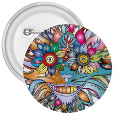 Anthropomorphic Flower Floral Plant 3  Buttons