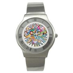 Anthropomorphic Flower Floral Plant Stainless Steel Watch