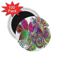 Floral Flowers Ornamental 2 25  Magnets (100 Pack)