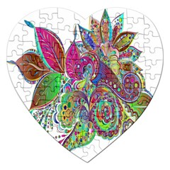 Floral Flowers Ornamental Jigsaw Puzzle (heart)