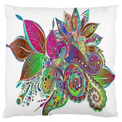 Floral Flowers Ornamental Standard Flano Cushion Case (two Sides) by Simbadda