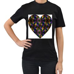 Heart Love Passion Abstract Art Women s T Shirt (black) (two Sided) by Simbadda