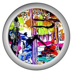 Walk With A Dog 1/1 Wall Clocks (silver)