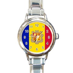 National Flag Of Andorra  Round Italian Charm Watch