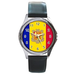National Flag Of Andorra  Round Metal Watch