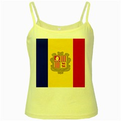 National Flag Of Andorra  Yellow Spaghetti Tank