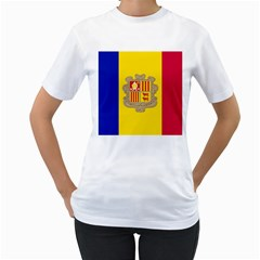 National Flag Of Andorra  Women s T Shirt (white) (two Sided)