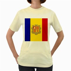 National Flag Of Andorra  Women s Yellow T Shirt