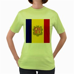 National Flag Of Andorra  Women s Green T Shirt