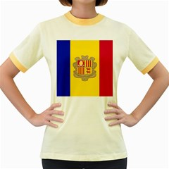 National Flag Of Andorra  Women s Fitted Ringer T Shirts