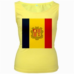 National Flag Of Andorra  Women s Yellow Tank Top