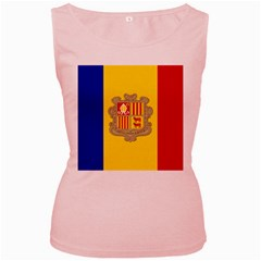 National Flag Of Andorra  Women s Pink Tank Top