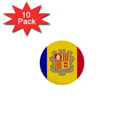 National Flag Of Andorra  1  Mini Buttons (10 Pack)
