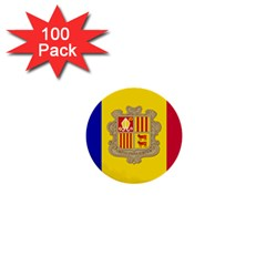 National Flag Of Andorra  1  Mini Buttons (100 Pack)