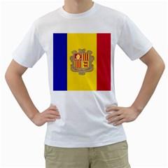 National Flag Of Andorra  Men s T Shirt (white) (two Sided)