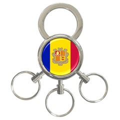 National Flag Of Andorra  3 Ring Key Chains