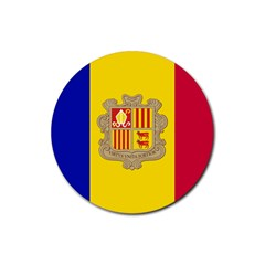 National Flag Of Andorra  Rubber Coaster (round)