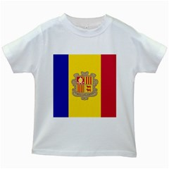 National Flag Of Andorra  Kids White T Shirts