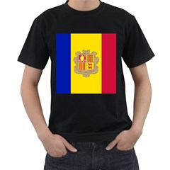 National Flag Of Andorra  Men s T Shirt (black) (two Sided)
