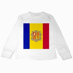 National Flag Of Andorra  Kids Long Sleeve T Shirts