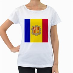 National Flag Of Andorra  Women s Loose Fit T Shirt (white)