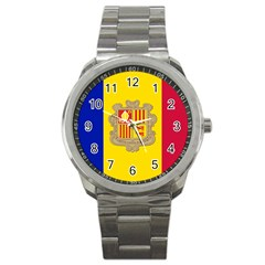 National Flag Of Andorra  Sport Metal Watch