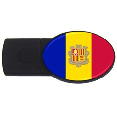 National Flag Of Andorra  Usb Flash Drive Oval (4 Gb)