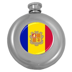 National Flag Of Andorra  Round Hip Flask (5 Oz)
