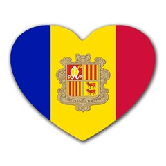 National Flag Of Andorra  Heart Mousepads