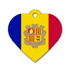 National Flag Of Andorra  Dog Tag Heart (two Sides)
