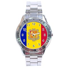 National Flag Of Andorra  Stainless Steel Analogue Watch