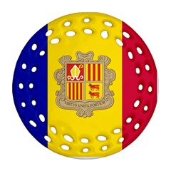 National Flag Of Andorra  Round Filigree Ornament (two Sides)
