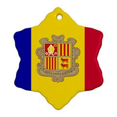 National Flag Of Andorra  Snowflake Ornament (two Sides)