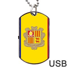 National Flag Of Andorra  Dog Tag Usb Flash (two Sides)