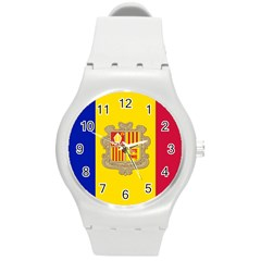 National Flag Of Andorra  Round Plastic Sport Watch (m)