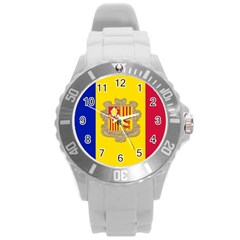 National Flag Of Andorra  Round Plastic Sport Watch (l)