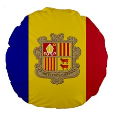 National Flag Of Andorra  Large 18  Premium Round Cushions