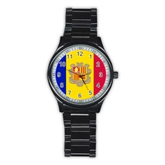 National Flag Of Andorra  Stainless Steel Round Watch