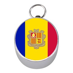National Flag Of Andorra  Mini Silver Compasses