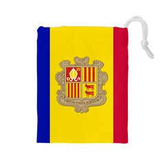 National Flag Of Andorra  Drawstring Pouches (large)