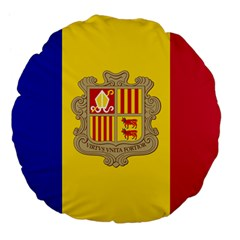 National Flag Of Andorra  Large 18  Premium Flano Round Cushions