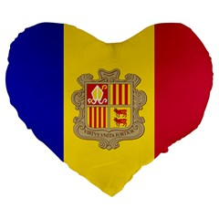 National Flag Of Andorra  Large 19  Premium Flano Heart Shape Cushions