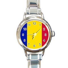 Civil Flag Of Andorra Round Italian Charm Watch