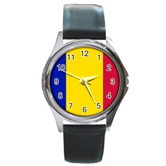 Civil Flag Of Andorra Round Metal Watch