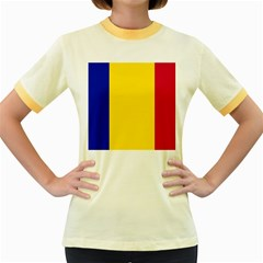 Civil Flag Of Andorra Women s Fitted Ringer T Shirts