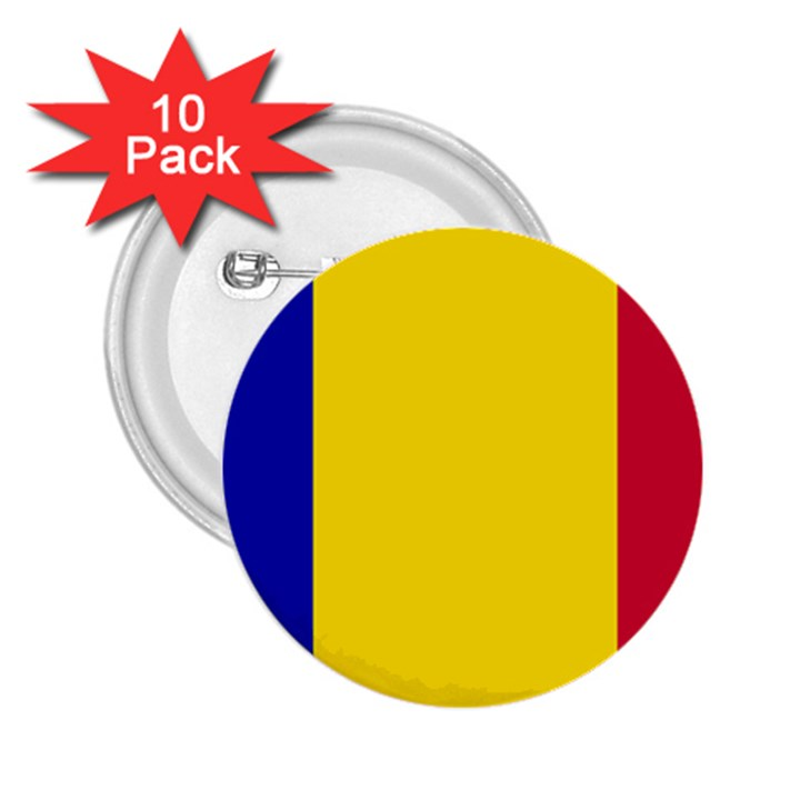 Civil Flag of Andorra 2.25  Buttons (10 pack)