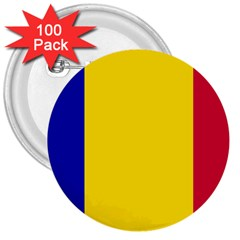 Civil Flag Of Andorra 3  Buttons (100 Pack)
