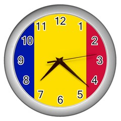 Civil Flag Of Andorra Wall Clocks (silver)